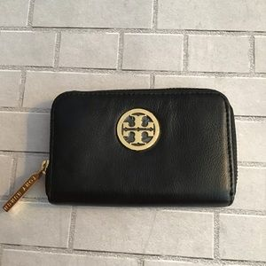 Small Black Leather Tory Burch Wallet Card Case